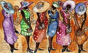 African Dance Mixed Media Posters - Church Lady Church Hats Poster by Janie McGee