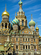 Onion Domes Photos - Church of our Savior on the Spilled Blood Saint Petersburg Russia by Robert Ford