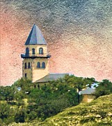 Fredricksburg Framed Prints - Church on Hill Framed Print by Janette Boyd