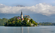 Bled Prints - Church on Lake Bled Island Print by Joe Bonita