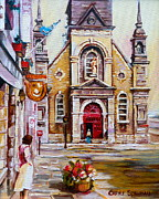 Montreal Landmarks Painting Posters - Church On Sunday Poster by Carole Spandau