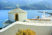 Skopelos Framed Prints - Church On The Hill Framed Print by David Birchall