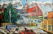 Autos Pastels - Church on the Hill by Tim  Swagerle