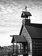 The Wooden Cross Photo Prints - Church on the Mount in Black and White Print by Lee Craig