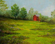 Old Barn Paintings - Church Road Barn by Cindy Roesinger