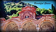 Columns Of Greece Framed Prints - Church Ruins in Greece Framed Print by John Malone