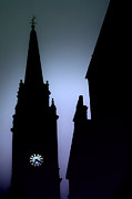 Clockface Framed Prints - Church Spire at Dusk Framed Print by Craig Brown