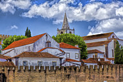 Rooftop Prints - Church Steeple in the Medieval Fortified Village of Obidos Print by David Letts