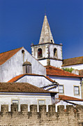 Roof Pastels Posters - Church Steeple of the Medieval Village of Obidos Poster by David Letts