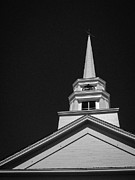 White Church Prints - Church Steeple Stowe Vermont Print by Edward Fielding