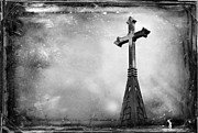 Forgiven Photo Prints - Church Steeple with Cross Print by Lane Erickson