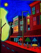 Night Cafe Framed Prints - Church Street Cafe Burlington VT Framed Print by Debra Bretton Robinson