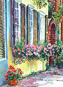 Flower Boxes Paintings - Church Street Textures by Alice Grimsley