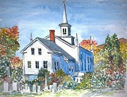 Autumn Scene Framed Prints - Church Vermont Framed Print by Anthony Butera