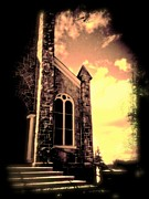 Brown Toned Art Digital Art Posters - Church Vignette against Sky Poster by Maggie Vlazny