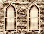Christian Sacred Framed Prints - Church Windows Sepia 1 Framed Print by Cheryl Young