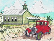 Old Church Drawings Posters - Church with Antique Car Poster by Bill Friday