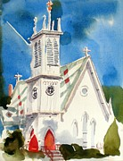 Water Color Mixed Media Posters - Church with Jet Contrail Poster by Kip DeVore
