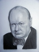 Prime Drawings Framed Prints - Churchill Framed Print by Kendrick Roy