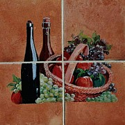 Food And Beverage Ceramics Prints - Cider And Apple Basket Print by Andrew Drozdowicz
