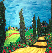 Tuscan Hills Paintings - Cielo Sereno by Seonaid  Ross