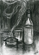 Glass Bottle Drawings Framed Prints - Cigarettes and Alcohol Framed Print by Roz Barron Abellera