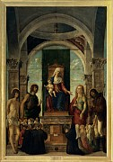 Mary Holding The Christ Prints - Cima Da Conegliano Giovanni Battista Print by Everett