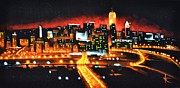 Wall Murals Painting Originals - Cincinati Skyline by Thomas Kolendra