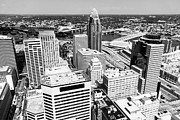 Cincinnati Framed Prints - Cincinnati Aerial Skyline Black and White Picture Framed Print by Paul Velgos