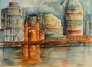 Cincy Ohio Paintings - Cincinnati at Dusk by Elaine Duras