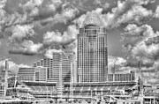Baseball Stadiums Framed Prints - Cincinnati Ballpark Clouds BW Framed Print by Mel Steinhauer