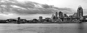 Randall Branham Acrylic Prints - Cincinnati black n white from the water Acrylic Print by Randall Branham