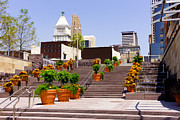 Stairs Downtown Prints - Cincinnati Downtown Central Business District Print by Paul Velgos