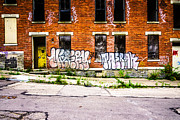 Dilapidated Houses Prints - Cincinnati Glencoe Auburn Place Graffiti Photo Print by Paul Velgos