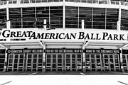 Black And White Ball Park Framed Prints - Cincinnati Great American Ball Park Black and White Picture Framed Print by Paul Velgos