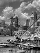 Riverboats Framed Prints - Cincinnati Landmarks 1 BW Framed Print by Mel Steinhauer