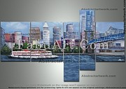 Cincinnati Paintings - Cincinnati Multipanel cityscape painting by FabuArt