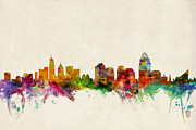 Silhouette Digital Art - Cincinnati Ohio Skyline by Michael Tompsett