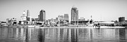 Black And White Ball Park Framed Prints - Cincinnati Panorama Black and White Picture Framed Print by Paul Velgos