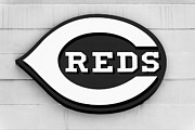 Black And White Ball Park Posters - Cincinnati Reds Sign Black and White Picture Poster by Paul Velgos