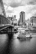 Steamboat Framed Prints - Cincinnati Riverfront Black and White Picture Framed Print by Paul Velgos