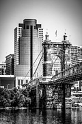 Ohio Prints - Cincinnati Roebling Bridge Black and White Picture Print by Paul Velgos