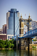 Ohio Prints - Cincinnati Scripps Building and Roebling Bridge Print by Paul Velgos