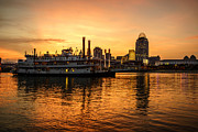 Ohio River Photos - Cincinnati Skyline and Riverboat at Sunset by Paul Velgos