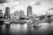 Black And White Ball Park Framed Prints - Cincinnati Skyline and Riverboat Black and White Picture Framed Print by Paul Velgos