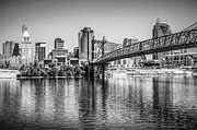 Black And White Ball Park Framed Prints - Cincinnati Skyline and Roebling Bridge Black and White Picture Framed Print by Paul Velgos