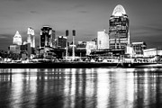 Black And White Ball Park Framed Prints - Cincinnati Skyline at Night Black and White Picture Framed Print by Paul Velgos