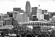 Ohio Prints - Cincinnati Skyline Black and White Picture Print by Paul Velgos