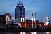 Baseball Stadiums Framed Prints - Cincinnati Skyline Framed Print by Deborah Fay