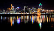 Sliver Framed Prints - Cincinnati Skyline in Christmas colors Framed Print by Keith Allen